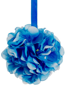 "4"" Hydrangea Kissing Ball  Blue (pack of 12)"