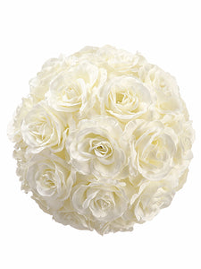 "8.5"" Rose Ball  Cream (pack of 3)"