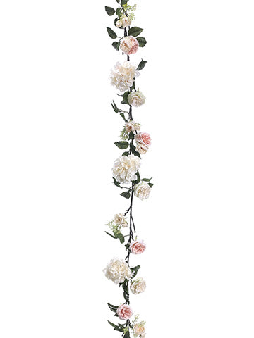 6' Hydrangea/Rose Garland  Cream Coral (pack of 6)