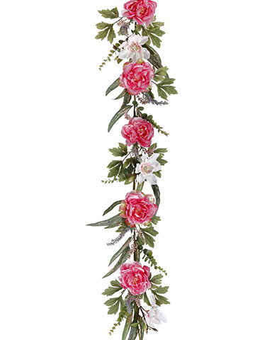 5' Peony/Magnolia Garland  Pink White (pack of 2)