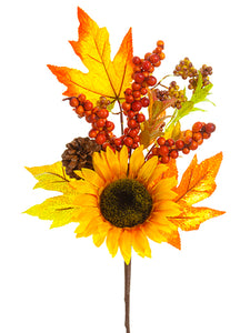 "16"" Sunflower/Berry/Pine Cone Pick Orange Yellow (pack of 12)"