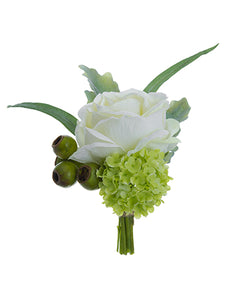 "10"" Rose/Snowball Boutonniere  White Green (pack of 12)"