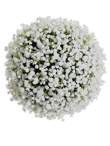 "10"" Plastic Baby's Breath Kissing Ball White (pack of 2)"