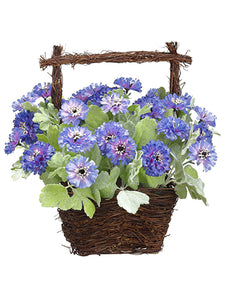"13"" Cornflower in Basket  Purple Lavender (pack of 4)"