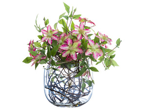 "17"" Clematis/Twig in Glass Vase Fuchsia White (pack of 2)"