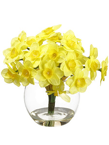 "7"" Daffodil in Glass Vase  Yellow (pack of 6)"