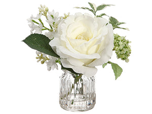 "7"" Rose/Lilac in Glass Vase  White Green (pack of 12)"