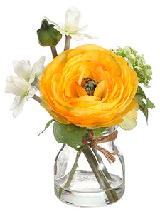 "6"" Ranunculus/Daffodil in Glass Vase Yellow White (pack of 12)"