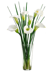 "36"" Calla Lily in Glass Vase  Cream Green (pack of 1)"