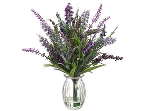 "11"" Lavender in Glass Vase  Purple Lavender (pack of 12)"