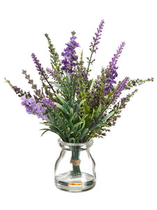 "9"" Lavender in Glass Vase  Lavender Purple (pack of 12)"