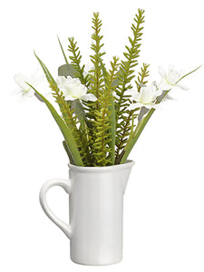 "11.75"" Narcissus/Eucalyptus in Ceramic Pitcher White Green (pack of 6)"
