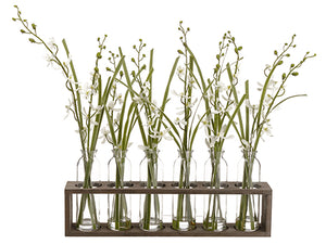 "22"" Dendrobium Orchid in Glass Vase x6 in Wood Planter White (pack of 2)"