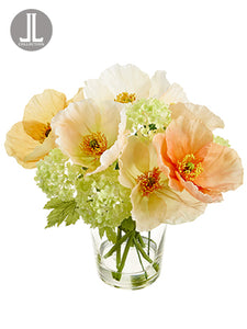 "11.5"" Poppy/Snowball Arrangement in Glass Vase Mixed (pack of 4)"
