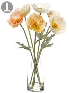 "20"" Poppy in Glass Vase  Mixed (pack of 4)"
