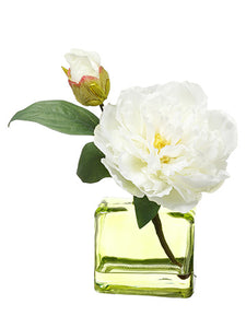 "9"" Peony in Glass Vase  White (pack of 8)"