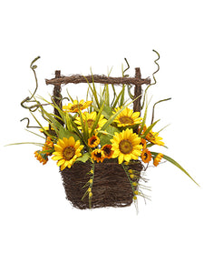 "13"" Sunflower in Basket  Yellow (pack of 4)"