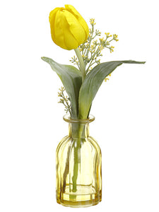 "13"" Tulip in Glass Vase  Yellow (pack of 6)"