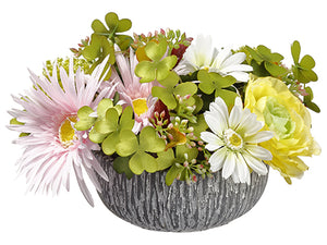 "6.5"" Ranunculus/Daisy/ Snowball in Cement Bowl Yellow Pink (pack of 6)"