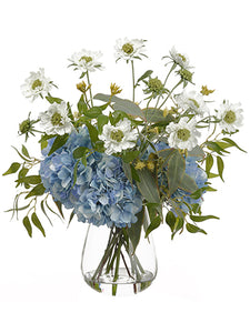 "24"" Hydrangea/Scabiosa/ Eucalyptus in Glass Vase White Blue (pack of 1)"