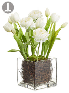 "16"" Ranunculus/Tulip in Glass Vase White (pack of 4)"