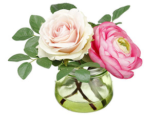 "4.25"" Ranunculus/Rose in Glass Vase Two Tone Pink (pack of 12)"