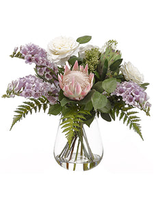 "20"" Rose/Foxglove/Protea/ Lilac in Glass Vase White Lavender (pack of 1)"
