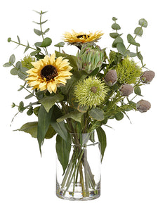"23"" Sunflower/Protea/ Eucalyptus in Glass Vase Yellow Green (pack of 1)"
