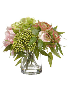 "10.5"" Ranunculus/Peony/ Hydrangea in Glass Vase Pink Green (pack of 1)"