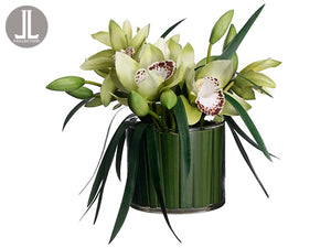 "9.5"" Cymbidium Orchid/Pond Reed in Glass Vase Green (pack of 1)"