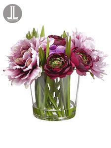"9.5"" Peony/Ranunculus in Glass Vase Purple Wine (pack of 4)"
