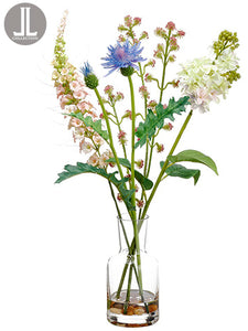 "18"" Lilac/Thistle in Glass Vase Lavender White (pack of 4)"