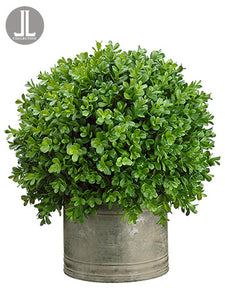 "16"" Boxwood Ball in Tin Pot  Green (pack of 1)"