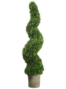 "49"" Spiral Cedar Topiary in Dark Grey Pot Green (pack of 1)"