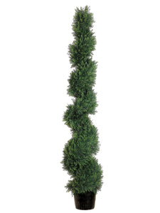 5' Spiral Cedar Topiary in Plastic Pot (knock-down packing) Green (pack of 1)