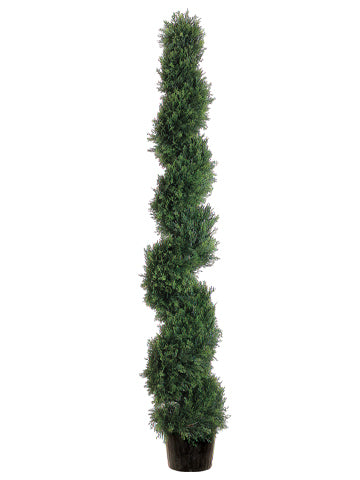 6' Spiral Cedar Topiary in Plastic Pot (knock-down packing ) Green (pack of 1)