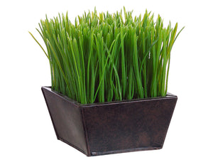 "7"" Grass in Tin Pot  Green (pack of 4)"