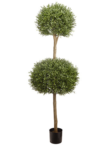 5' Lavender Leaf Double Ball Topiary in Pot Green (pack of 1)