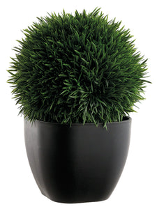 "11"" Grass Ball in Plastic Pot  Green (pack of 6)"