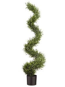 "51"" Spiral Shaped Lavender Leaf Topiary in Pot Green (pack of 2)"