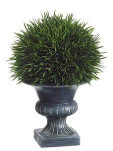 "9"" Grass in Plastic Urn  Green (pack of 6)"