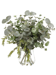 "25"" Eucalyptus/Bottle Brush in Glass Vase Green Gray (pack of 1)"