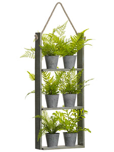 "29"" Potted Fern x6 in Hanging Wood Shelf Green (pack of 2)"