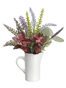 "12"" Herb Garden/Lavender/ Eucalyptus in Ceramic Pitcher Green Burgundy (pack of 6)"