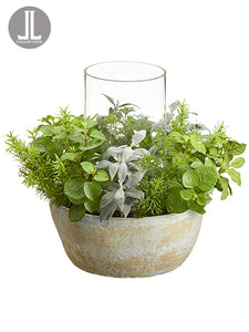 "15"" Herb Garden Centerpiece in Clay Pot With Glass Candleholder Green Gray (pack of 1)"