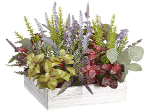 "11"" Herb Garden/Lavender/ Eucalyptus in Wood Pot Green Burgundy (pack of 4)"