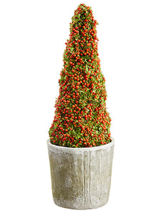 "23.62"" Coral Moss Cone Topiary in Mgo Pot Orange Green (pack of 1)"