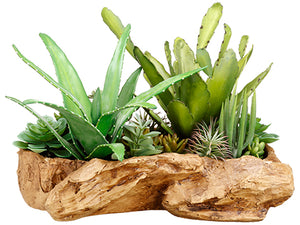 "14"" Succulent Garden in Faux Wood Log Green (pack of 1)"