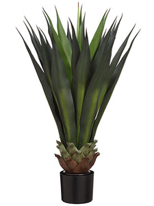 "33""agave in Black Pot Gr  Green (pack of 2)"