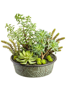 "17"" Succulent Garden in Tin Pot Green (pack of 1)"